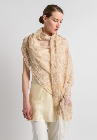Uma Wang Floral Textured Scarf in Cream/Tan
