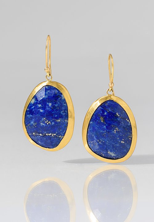 Heike Grebenstein Single Drop Lapis Earrings