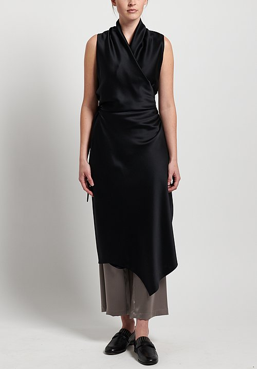 Peter Cohen 2-Layer Satin Silk Victor Dress in Black