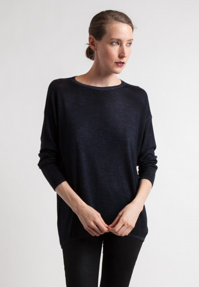 Avant Toi Oversized Lightweight Sweater in Navy