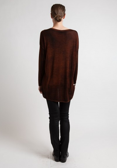 Avant Toi Lightweight V-Neck Sweater in Brown