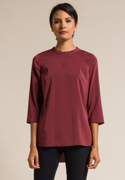 Brunello Cucinelli Relaxed Silk Blouse in Merlot