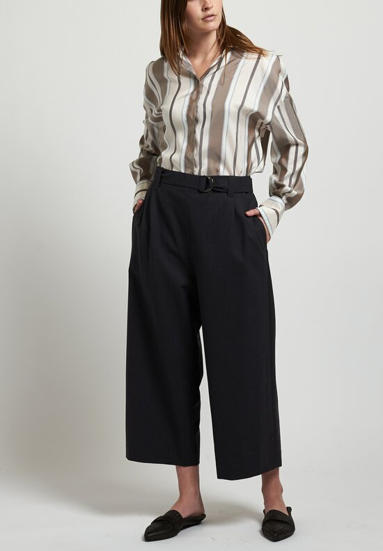 Brunello Cucinelli Cropped Wide Leg Pants in Charcoal