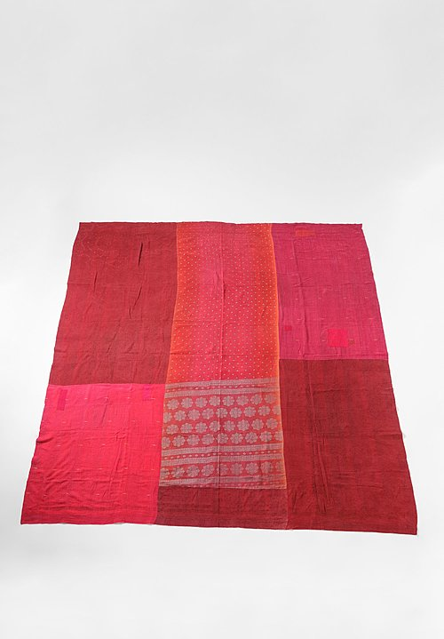 Mieko Mintz Reversible Silk/Cotton Ombre Patch Throw in Red