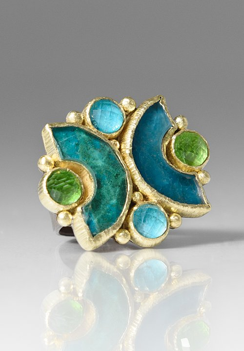Maria Frantzi Apatite, Chrysocolla, & Dioptase Doublets Ring