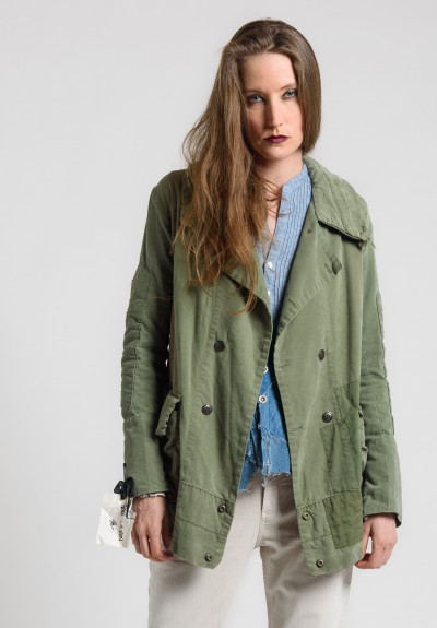 Greg Lauren Army Tent Notch Lapel Jacket in Army Green