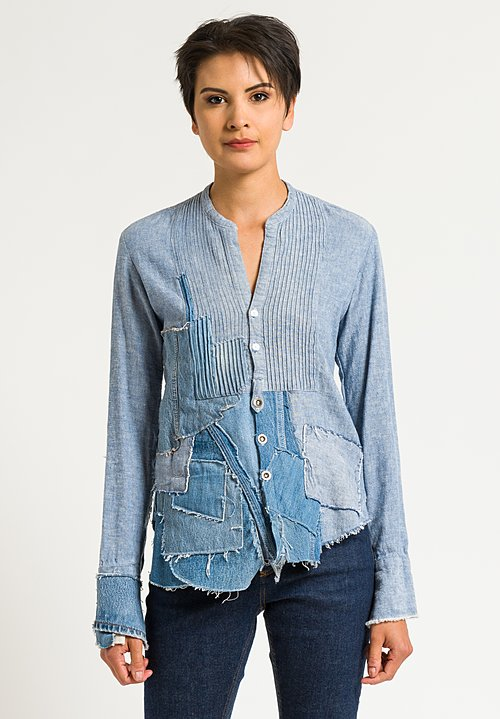 Greg Lauren Patchwork Tux Shirt in Denim Blue