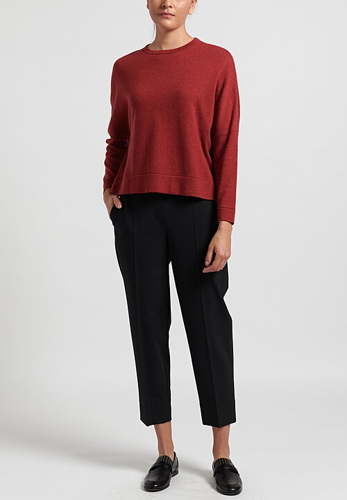 Brunello Cucinelli Cropped Cashmere Sweater in Red