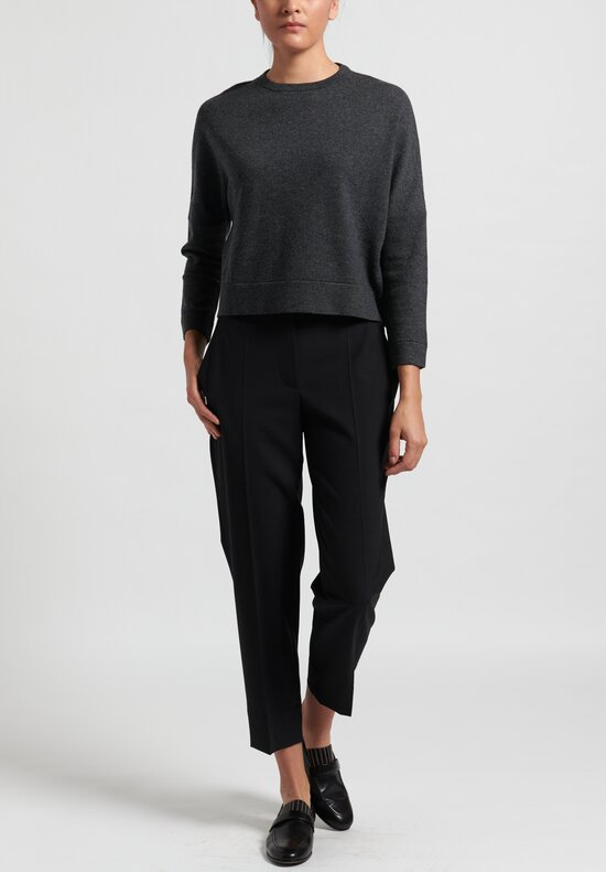 Brunello Cucinelli Cropped Cashmere Crew Neck Sweater in Charcoal Grey
