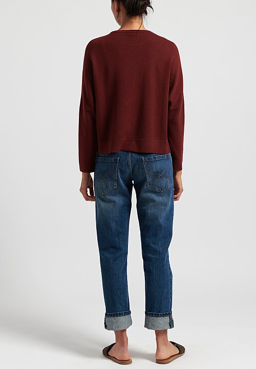 Brunello Cucinelli Boxy Cashmere Crew in Russet Red