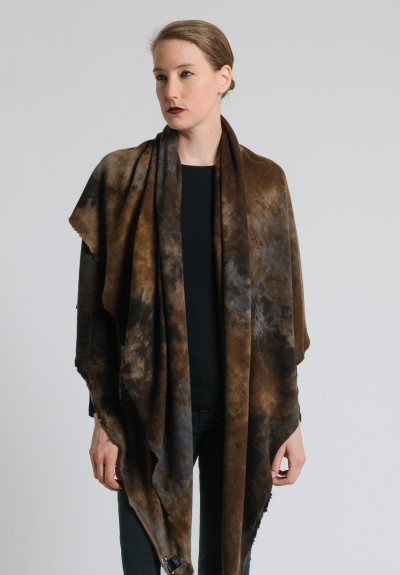 Avant Toi Large Camouflage Dyed Scarf in Suede