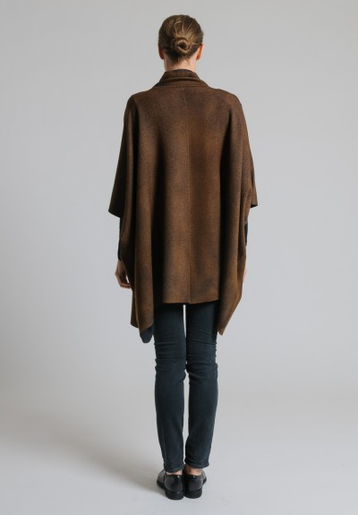 Avant Toi Oversized Closed Poncho in Suede