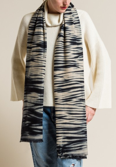 Denis Colomb Zebra Tie Dye Stole in Cream/Black