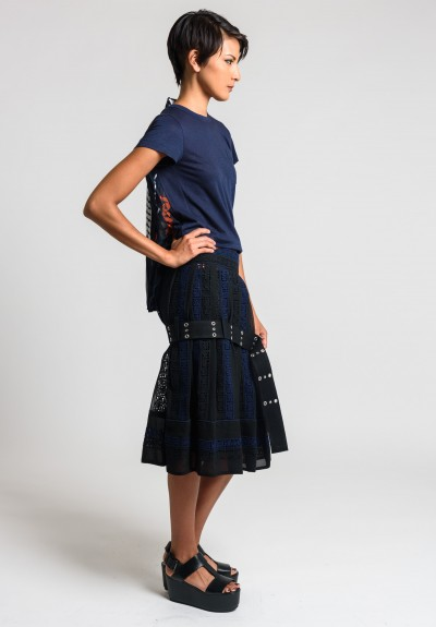 Sacai Calligraphy Embroidered Regimental Skirt in Black/Navy