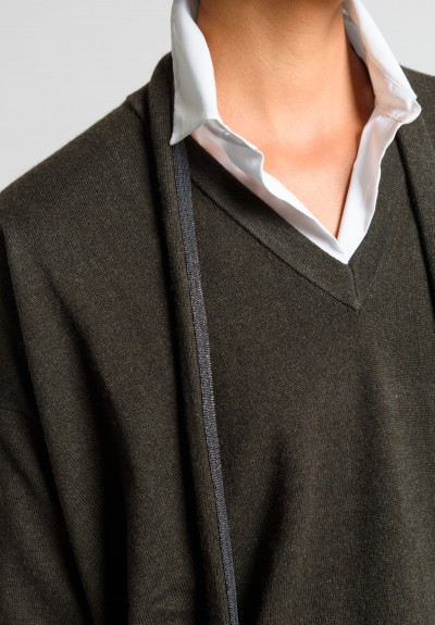 Brunello Cucinelli Cashmere Paillette Tie V-Neck Sweater in Dark Olive