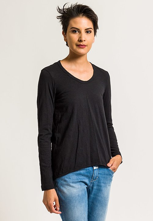 Wilt Long Sleeve Shrunken Boyfriend Tee in Black