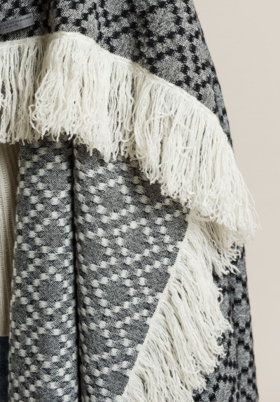 Denis Colomb Gaucho Nomad Shawl in Black/White