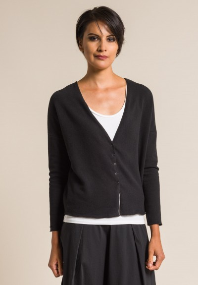 Album di Famiglia Soft Cotton Cardigan in Black