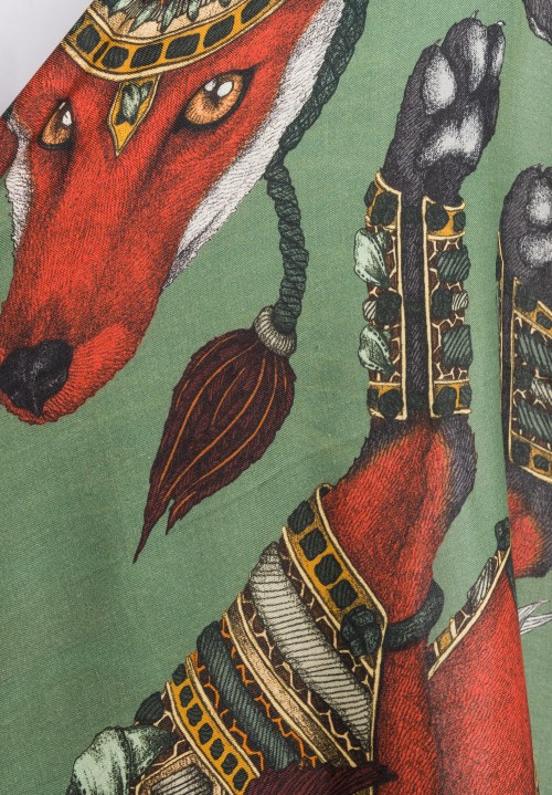 Sabina Savage Wool/Silk The Dancing Fox Scarf in Emerald
