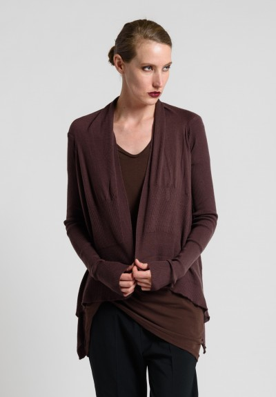 Rick Owens Cashmere Open Draping Cardigan in Macassar
