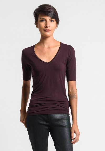 Majestic V-Neck Top in Aubergine