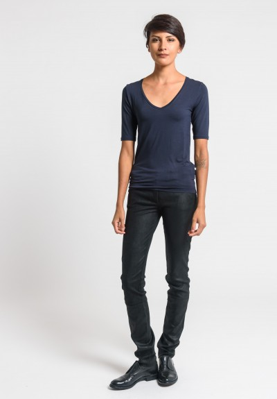 Majestic V-Neck Top in Marine