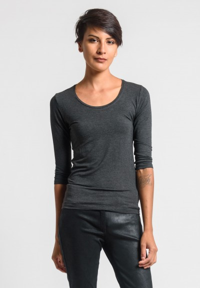 Majestic Scoop Neck Top in Anthracite