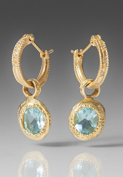 Tovi Farber 18k Gold, White Diamonds & Aquamarine Earrings