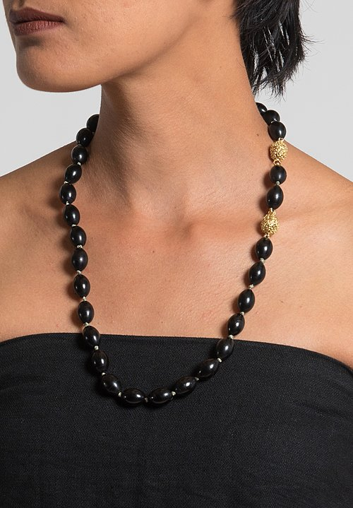 Tovi Farber 18k Gold, Black Coral & White Diamond Necklace