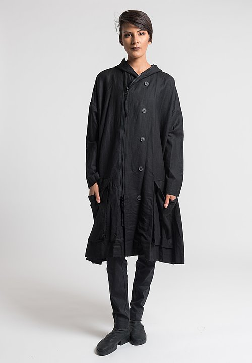 Rundholz Hooded A-Line Coat in Black