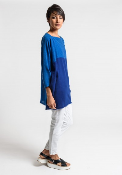 Daniela Gregis Cashmere Top in Blue/Red