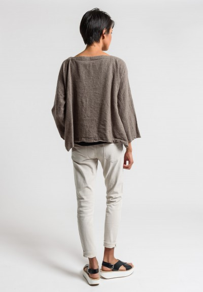 Daniela Gregis Washed Cashmere Top in Natural/Brown