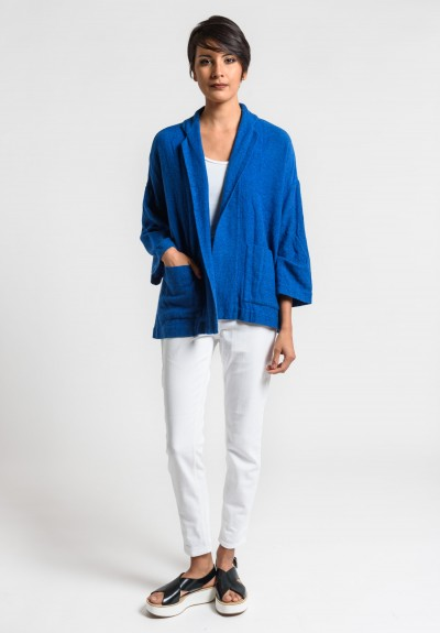 Daniela Gregis Washed Cashmere Open Jacket in Turquoise/Ink Blue