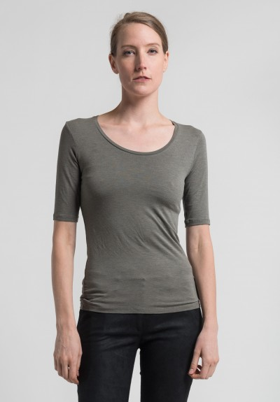 Majestic Elbow Length Scoop Neck Top in Military