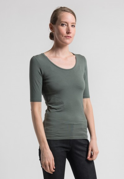 Majestic Elbow Length Round Neck Top in Military