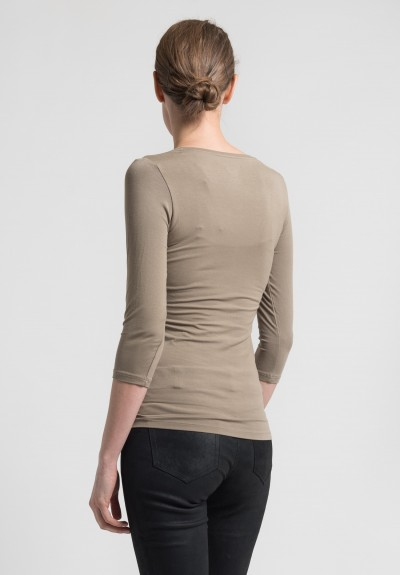 Majestic 3/4 Sleeve V-Neck Top in Light Brown