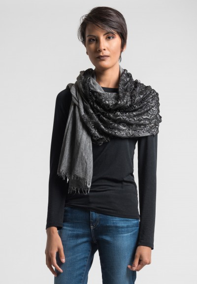 Claudio Cutuli Scarf with Leather Laser Cut Detail in Grey/Black