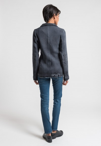 Avant Toi Destroyed Knit Blazer in Stone
