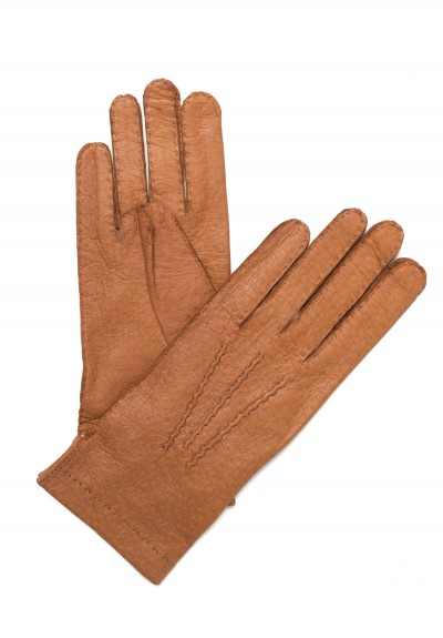 Hestra Handsewn Peccary Leather Unlined Gloves in Cork