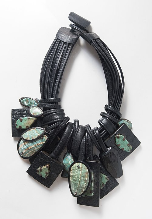 Monies UNIQUE Shell, Turquoise, Crocodile & Labradorite Necklace