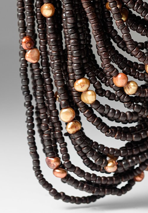 Monies Ebony & Pearls Multi Strand Necklace