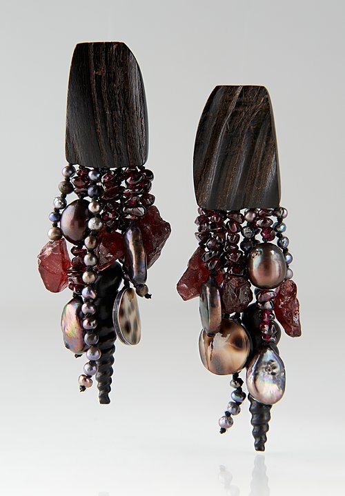 Monies UNIQUE Rubellite, Pearl & Shell Clip Ons