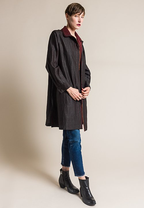 Sophie Hong Silk Double Collar Jacket in Black/Red