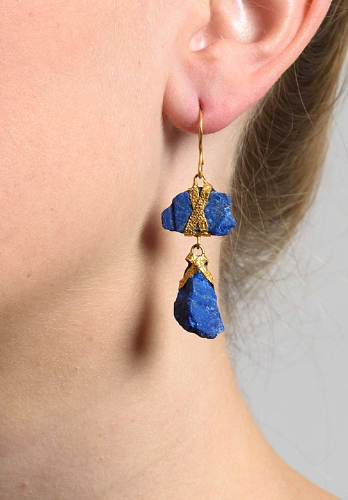 Lou Zeldis Rough 2 Drop Lapis Earrings