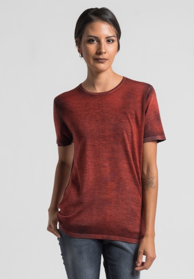Avant Toi Cashmere/Silk Short Sleeve Knit Top in Canyon