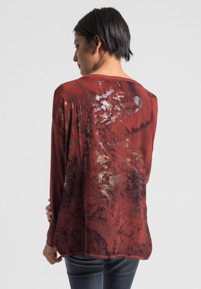 Avant Toi Cashmere/Silk Back Water Print Sweater in Canyon