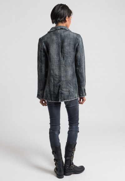Avant Toi Linen Frayed Edges Jacket in Delfino