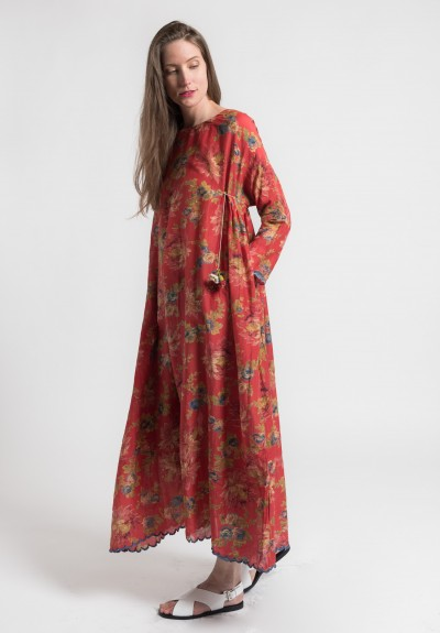 Péro Cotton/Silk Long Floral Dress in Red