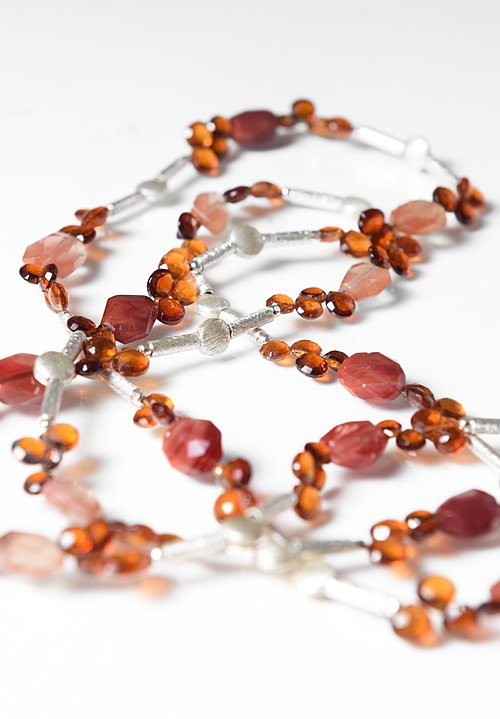 Greig Porter Sunstone, Garnet, & Sterling Silver Necklace