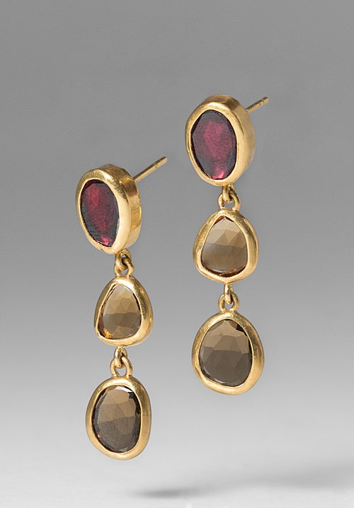 Greig Porter Triple Tourmaline Drop Earrings